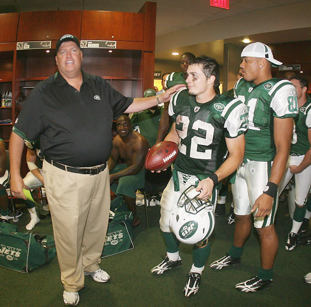 Danny Woodhead is congratulated with a game ball from Head Coach Rex Ryan after a 2009 preseason game. Woodhead, who is now with the Patriots, will face off against his old team on Monday night.