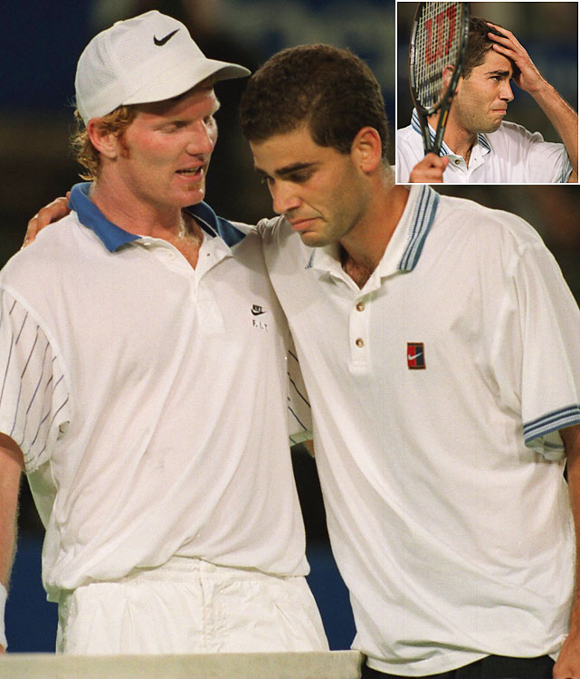 "For Pete Sampras, it was about so much more than tennis. Sampras played the 1995 Australian Open quarterfinals burdened by his coach Tim Gullikson's diagnosis of brain cancer. Gullikson was given mere months to live. Emotion poured from Sampras after the fourth set, when he began weeping at the thought of Gullikson lying in a hospital bed. In the fifth, opponent Jim Courier noticed what was going on and memorably said, ""You OK, Pete? We can do this tomorrow, you know."" That remark spurred Sampras. He ultimately won 6-7 (4), 6-7 (3), 6-3, 6-4, 6-3 and lost to Andre Agassi in the finals."