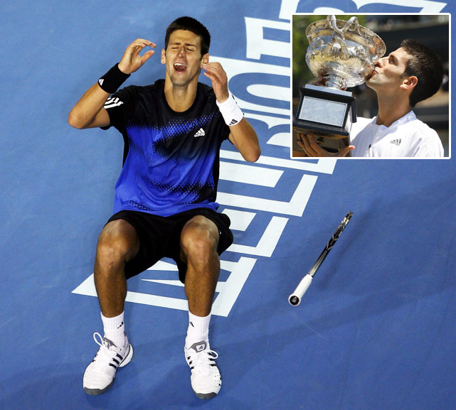 Novak Djokovic won his first Grand Slam title in Melbourne in 2008, beating Jo-Wilfried Tsonga 4-6, 6-4, 6-3, 7-6 (2) in the final. Djokovic had to get past Roger Federer in the semis, which he did in straight sets for just his second career win against the then World No. 1.