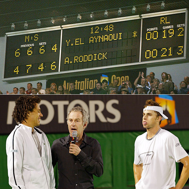 Recent years have brought an onslaught of marathon matches, but this memorable 2003 quarterfinal may have triggered the trend. Younes El Aynaoui, the affable Rockin' Moroccan, succumbed to young Andy Roddick 4-6, 7-6 (5), 4-6, 6-4, 21-19, in 4 hours, 59 minutes. The fifth set took up nearly half the match, at the time the longest match since tiebreakers were introduced at the Australian Open in 1971. Fernando Verdasco and Rafael Nadal's 2009 semifinal beat it by 15 minutes.