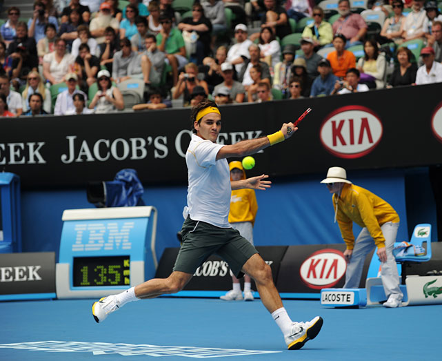 Roger Federer plays a stroke during his comfortable straight-sets victory over Slovakia's Lukas Lacko.