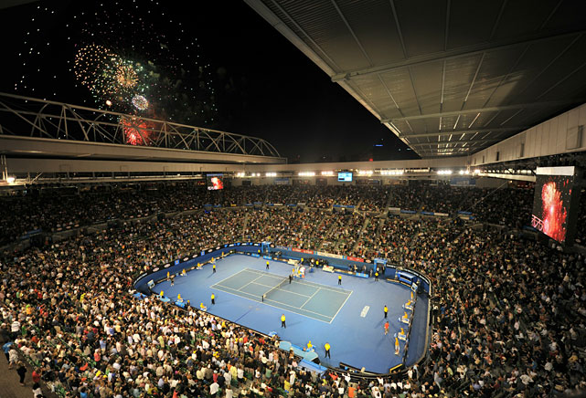 Fireworks light up the sky for Australia Day during Wednesday's quarterfinal match between Rafael Nadal of Spain and compatriot David Ferrer.