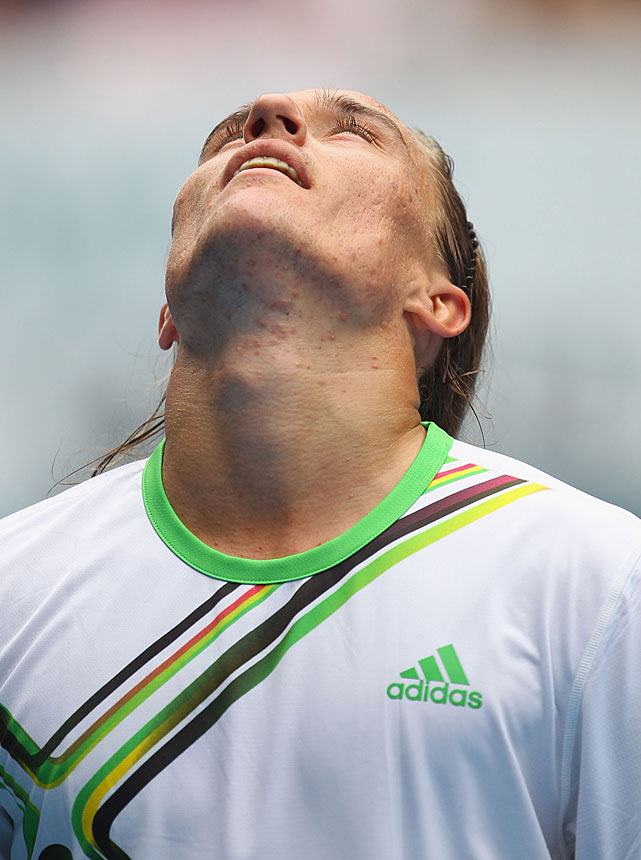 Dolgopolov of the Ukraine reacts during Wednesday's match.