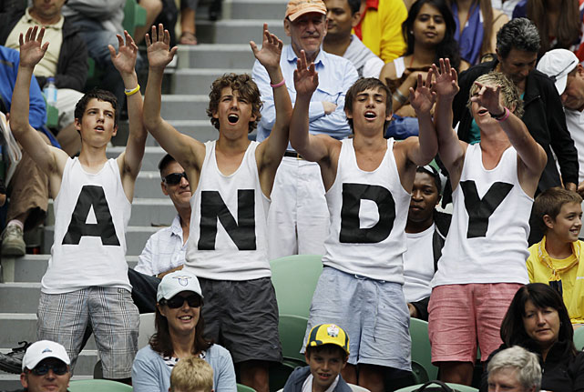 Supporters of Great Britain's Murray cheer him on during his Wednesday's quarterfinal.