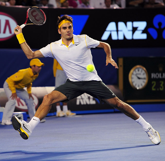 Federer returns to Djokovic during Thursday's match.