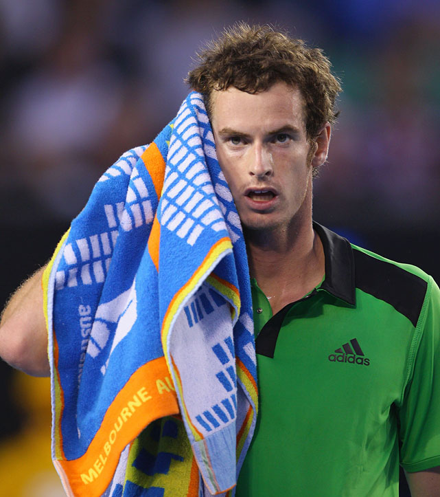 Murray towels down during Friday's match at Rod Laver Arena.