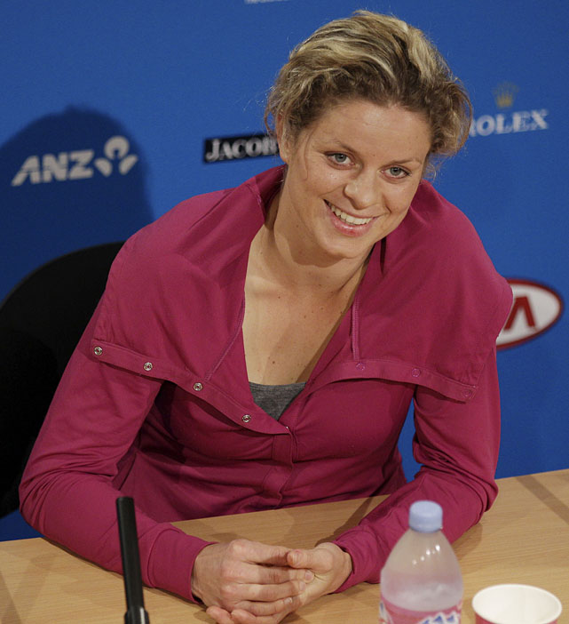 Kim Clijsters of Belgium talks to the media at a press conference Friday afternoon.