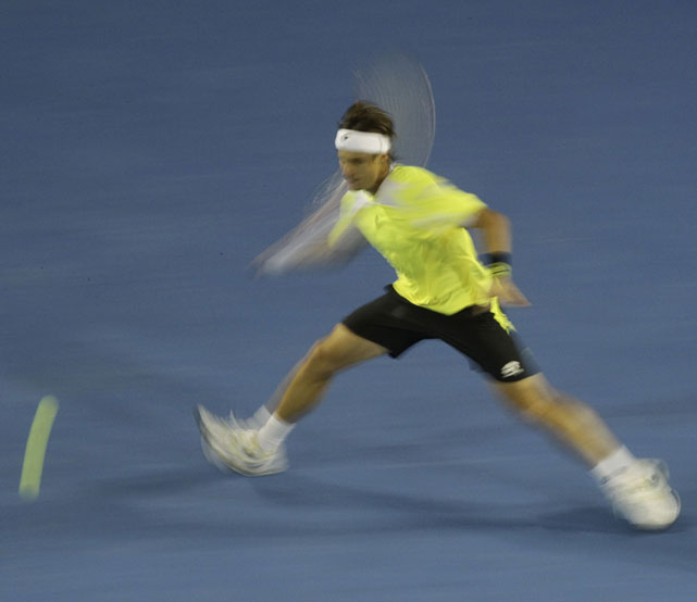 Ferrer makes a forehand return on Friday in Melbourne.