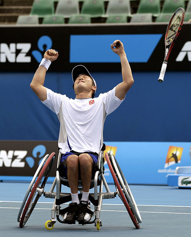 Japan's Shingo Kunieda reacts to beating France's Stephane Houdet during the men's singles wheelchair singles final.