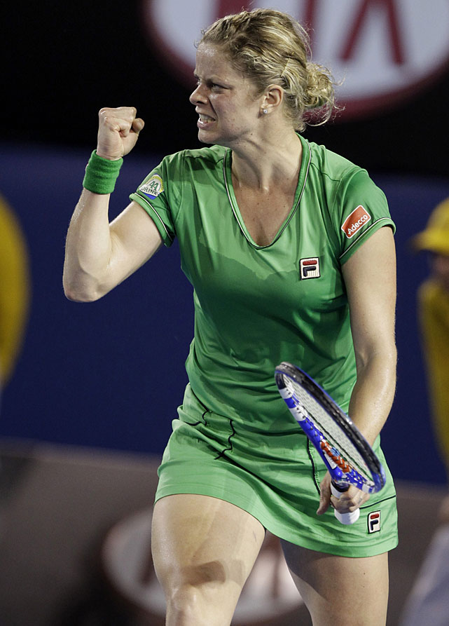 Clijsters celebrates a point during Saturday's final.