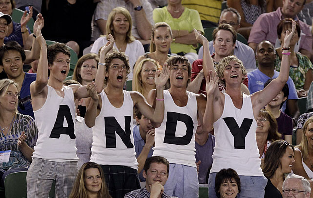 Murray supporters cheer him on during the match.