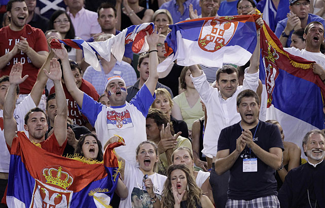 Djokovic supporters make themselves heard.