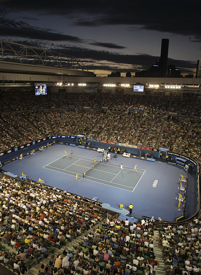 A wide shot of Rod Laver Arena during Sunday's final.