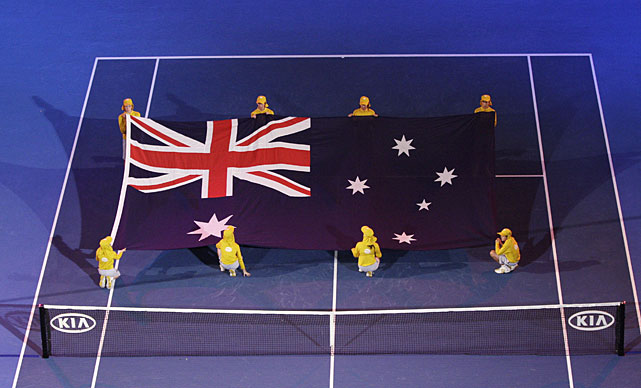 A giant Australian flag is shown on Rod Laver Arena during the opening ceremony prior to the start of Sunday's final.