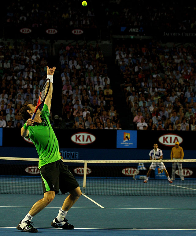 Murray serves to Djokovic early in Sunday's final.