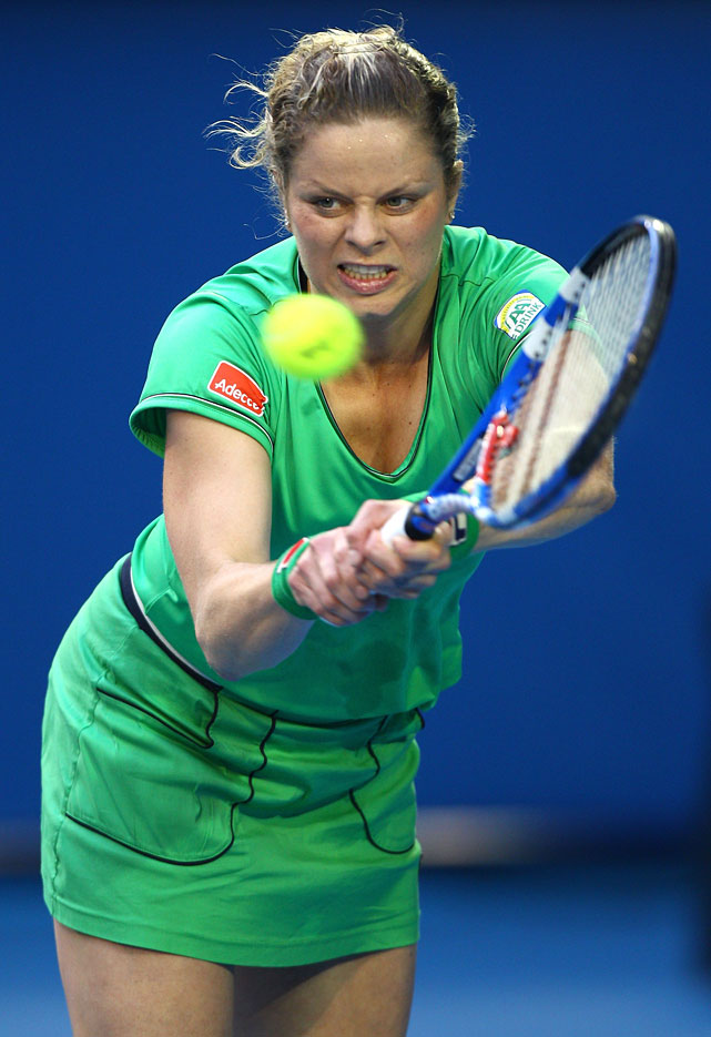 Third-seeded Kim Clijsters coasted to a 6-0, 6-0 victory over former No. 1 Dinara Safina.