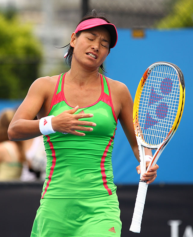 Kimiko Date-Krumm, the oldest player in the women's draw at 40, reacts during her first-round loss to 12th-seeded Agnieszka Radwanska.