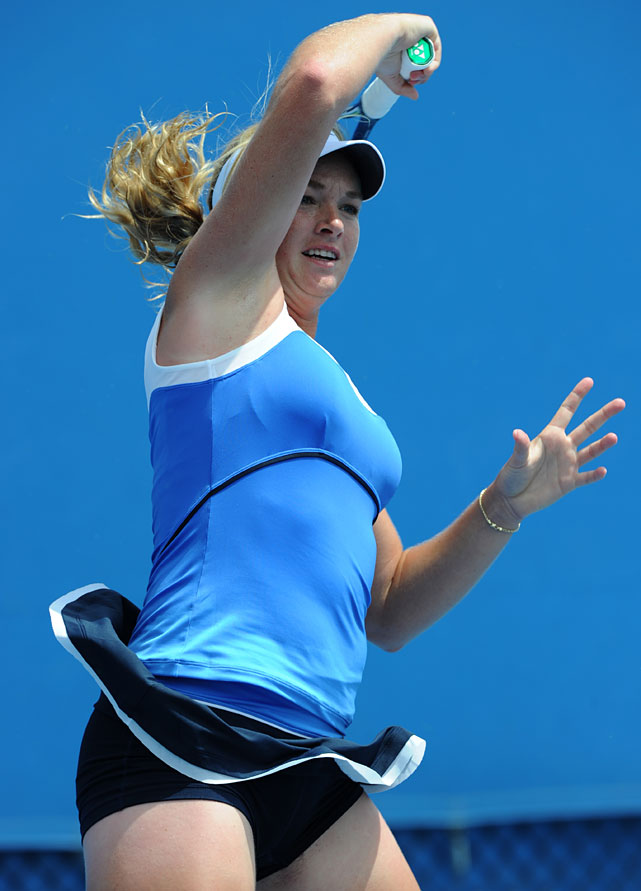 Coco Vandeweghe returns to Alize Cornet of France during their first-round match. The 19-year-old American lost 6-2, 6-1.