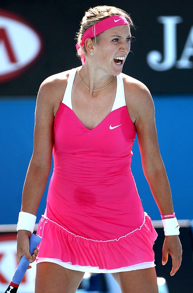 Victoria Azarenka of Belarus celebrates after beating Andrea Hlavackova of the Czech Republic.