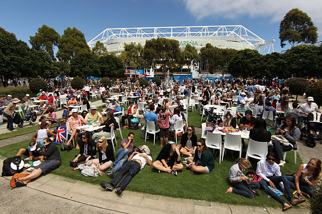 Spectators enjoy the atmosphere in Garden Square during Wednesday's day session.