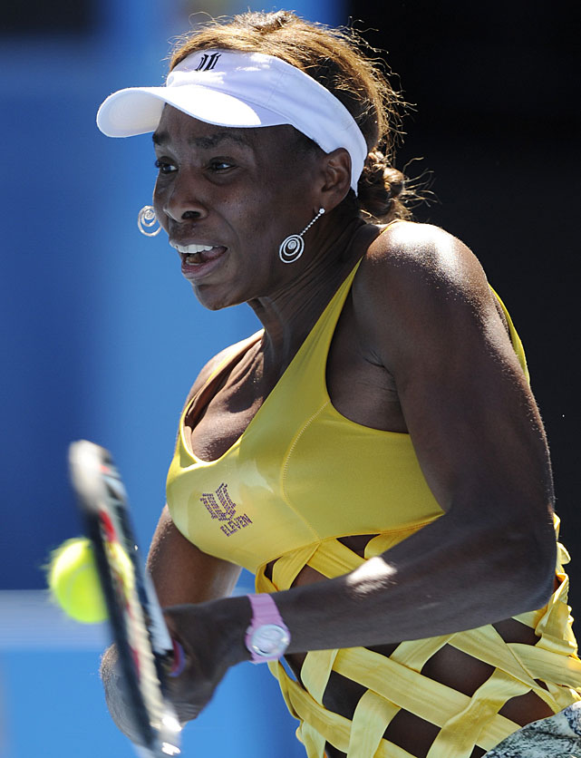 Venus Williams makes a backhand return to Sandra Zahlavova of the Czech Republic during their second-round match. Williams won 6-7(6), 6-0, 6-4.