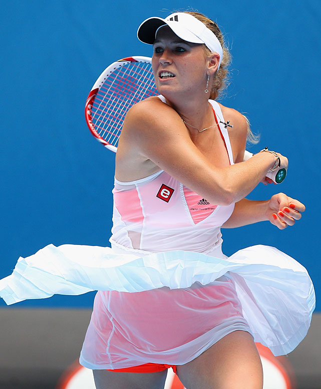 Caroline Wozniacki of Denmark plays a forehand during her second-round match against Vania King of the United States on Wednesday at Melbourne Park. The top-seeded Wozniacki won 6-1, 6-0 in 58 minutes.