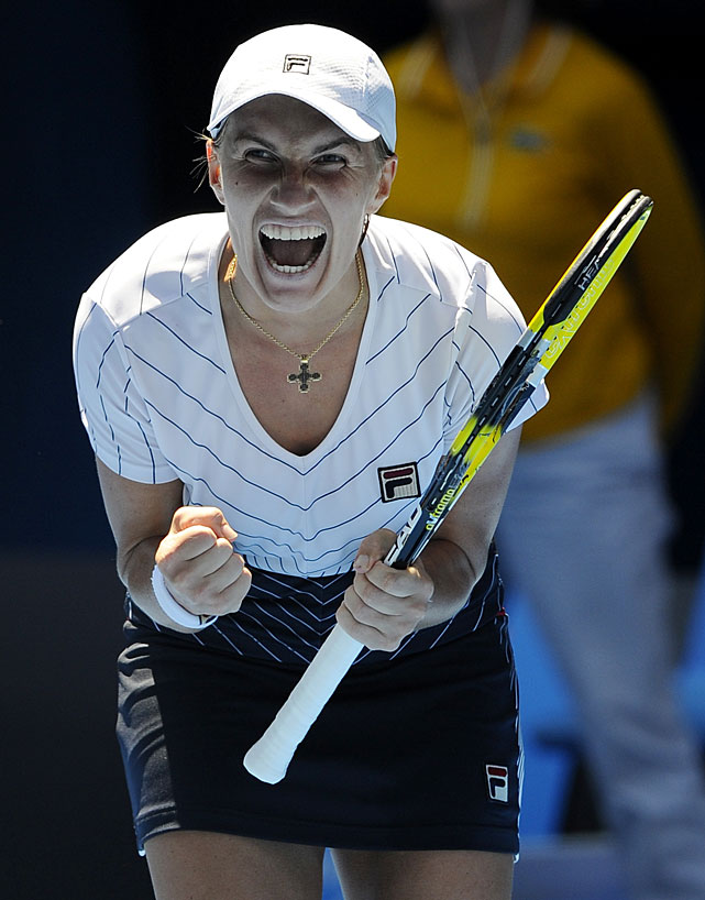 Russia's Svetlana Kuznetsova celebrates during her match against Belgium's Justine Henin. Kuznetsova won 6-4, 7-6(8).