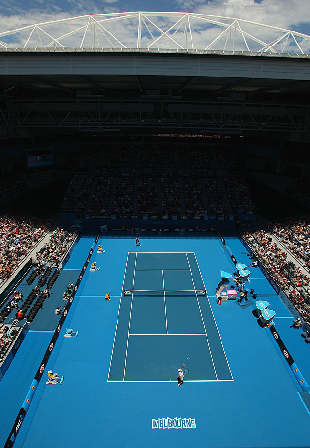 General view of Hisense Arena during the third-round match between Andy Roddick (bottom) and Robin Haase of the Netherlands. Roddick won 2-6, 7-6(2), 6-2, 6-2.