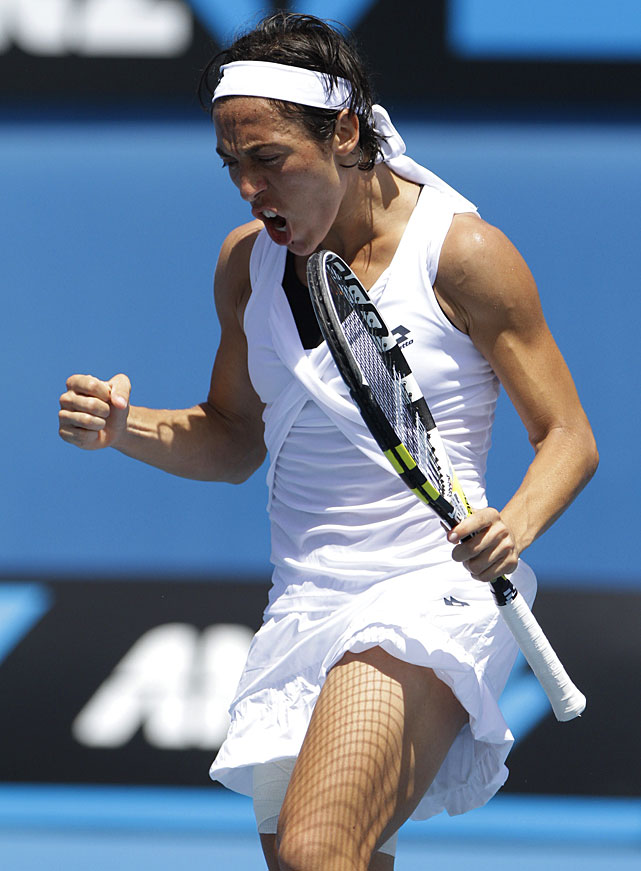 Italy's Francesca Schiavone celebrates a point win during her third-round match against Romania's Monica Hiculescu. Schiavone won 6-0, 7-6(2).