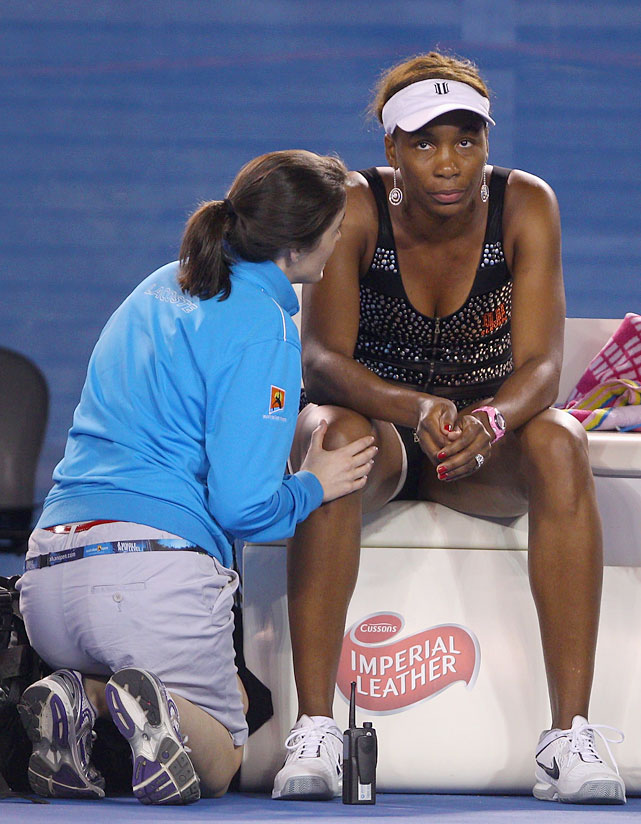 Venus Williams played just seven points against 30th-seeded Andrea Petkovic before withdrawing due to injury.
