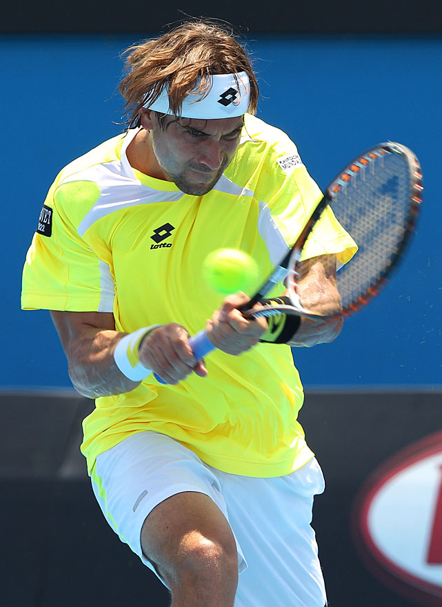David Ferrer of Spain plays a backhand during his third-round match against Richard Berankis of Lithuania. Ferrer won 6-2, 6-2, 6-1.