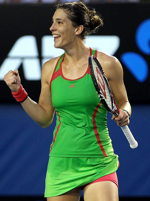 Germany's Andrea Petkovic celebrates a break point win over Russia's Maria Sharapova during their fourth-round match. Petkovic won 6-2, 6-3.