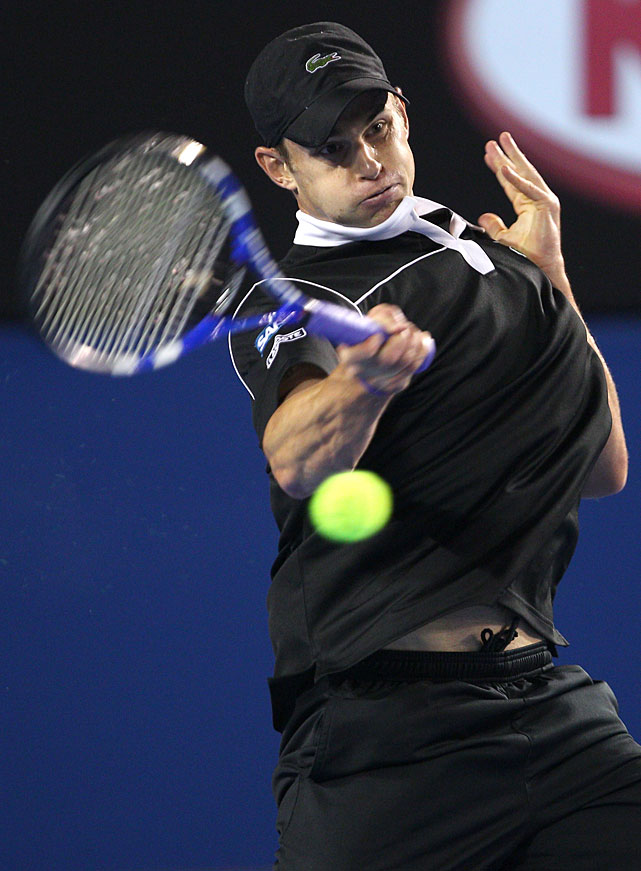 Andy Roddick of the United States plays a forehand against Stanislas Wawrinka in their fourth-round match.