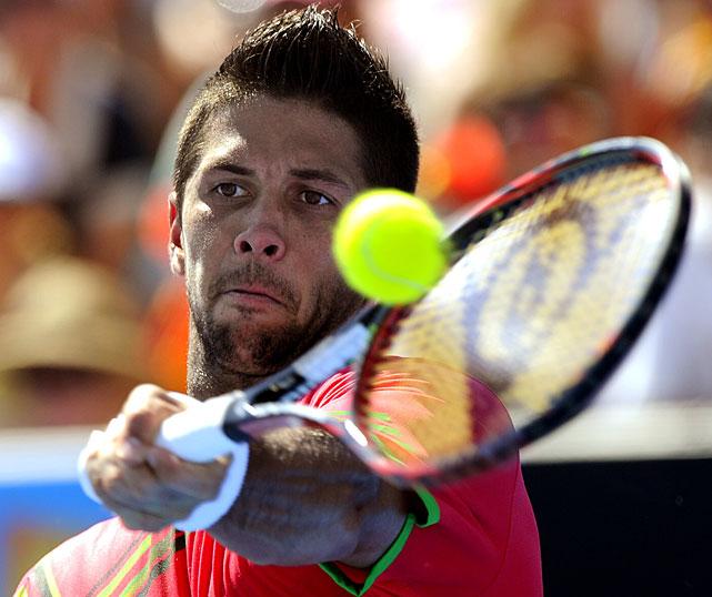 Verdasco returns to Djokovic during Saturday's match.