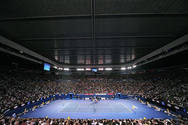 The roof is closed on Rod Laver Arena for Tuesday's quarterfinal match between Novak Djokovic and Tomas Berdych.
