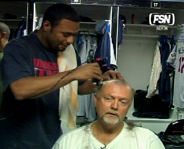Blylelen has his head shaved by former Twins ace Johan Santana. The color commentator said Santana could shave his head if he pitched a complete game shutout that season. Santana made good on the bet by pitching a complete game shutout of the Mets