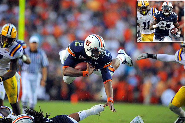 In a clash of the No. 1 offense versus the No. 1 defense, Auburn and its offense prevailed. Cam Newton rushed for 217 yards and two touchdowns, and running back Onterio McCalebb (inset) broke through a staunch LSU defensive line for the game-winning, 70-yard touchdown as Auburn prevailed 24-17.