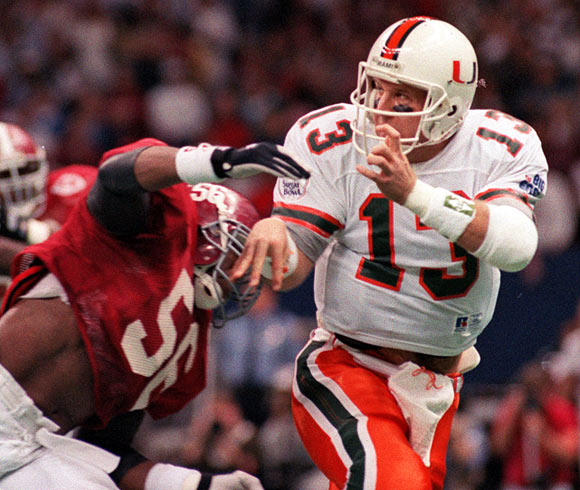 Torretta passed for 278 yards but was intercepted three times, including one that was returned for a touchdown, as the Hurricanes were beaten 34-13 by Alabama in the Sugar Bowl.