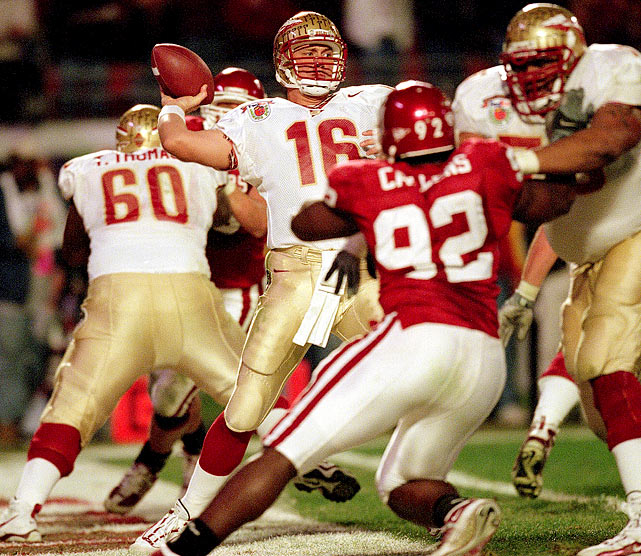 Weinke was 25-for-51 for 274 yards and two interceptions and a fumble as the Seminoles lost 13-2 to Oklahoma in the Orange Bowl.