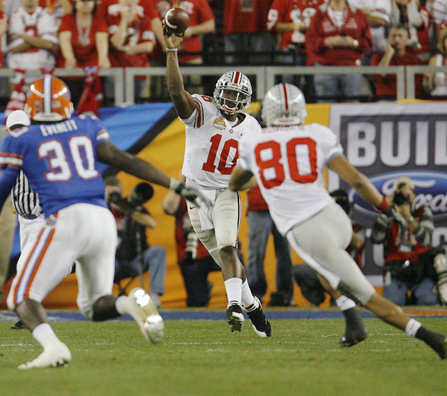 Smith was only 4-of-14 for 35 yards with one interception as Ohio State fell to Florida 41-14 in the BCS title game.  Smith also ran 10 times for minus-29 yards.
