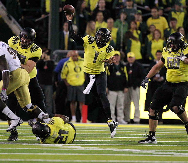In the school's first-ever game as the AP No. 1, Darron Thomas ensured the  Ducks would not disappoint. The sophomore quarterback from Houston   carved up the UCLA defense early and often, throwing for 308 yards and three touchdowns in the  60-13 victory.