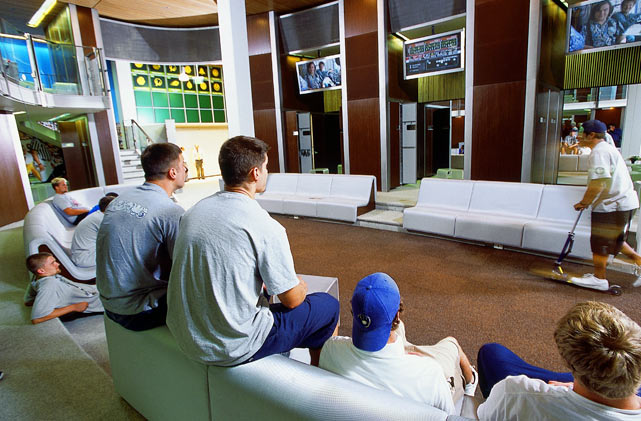 Oregon football players gather around three plasma screen to play video games and watch TV in the locker room at the Casanova Center. In November 2010, Oregon announced a $41 million plan to expand the Center, thanks to the donations of Phil Knight.