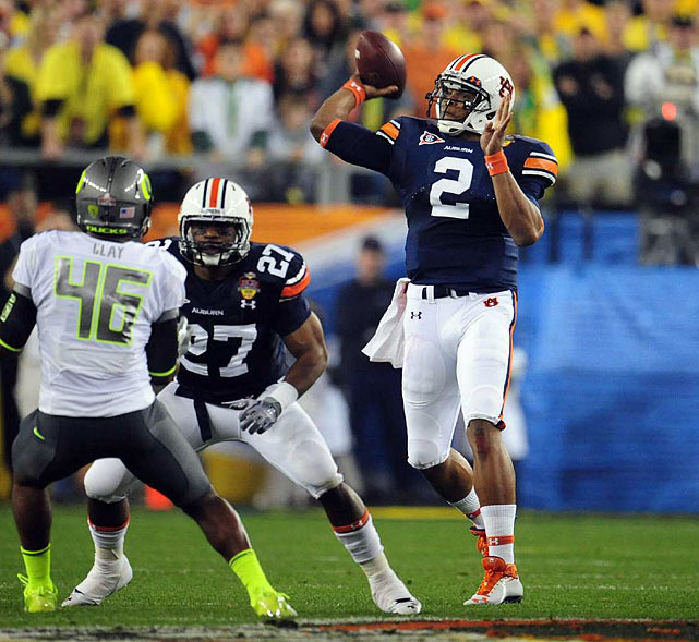 After Oregon took a 3-0 lead early in the second quarter, Cam Newton hit Kodi Burns on a 35-yard touchdown pass to give Auburn its first lead of the game.