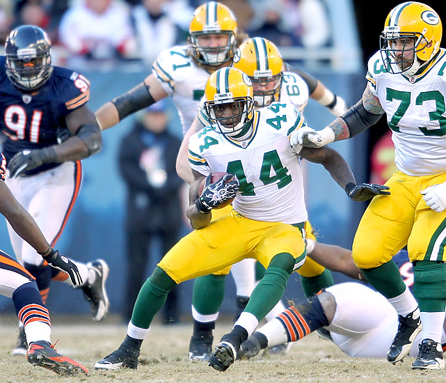 Packers RB James Starks (80 total yards, 1 TD) often had big holes to explore against the Bears -- especially in the first half.