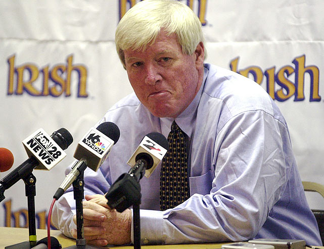 O'Leary bolted from Georgia Tech to Notre Dame in 2001 after compiling an impressive 52-33 record over eight seasons. But days after his hiring, investigations found that O'Leary fudged academic and athletic facts on his resume. He claimed he earned a master's degree at NYU, which he never finished, and that he lettered for three years as a fullback at the University of New Hampshire, where he never played a down. O'Leary admitted the fabrication and resigned as head coach five days after his hiring.