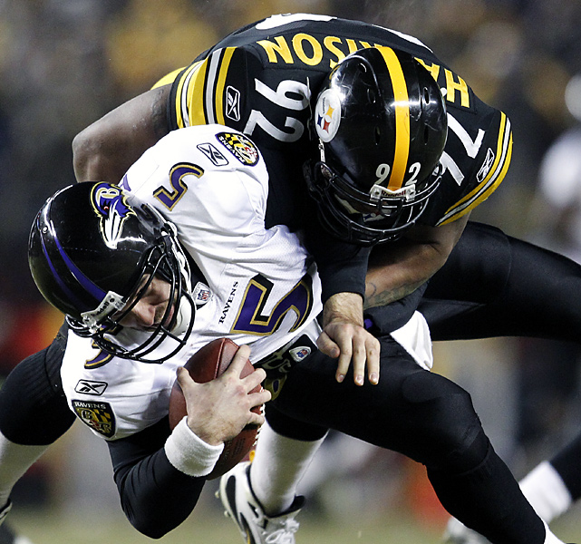 Harrison made his presence felt throughout, recording five tackles, two assists, two passes defended and three sacks of Joe Flacco for -21 yards. The Steelers held the Ravens to 35 rushing yards.