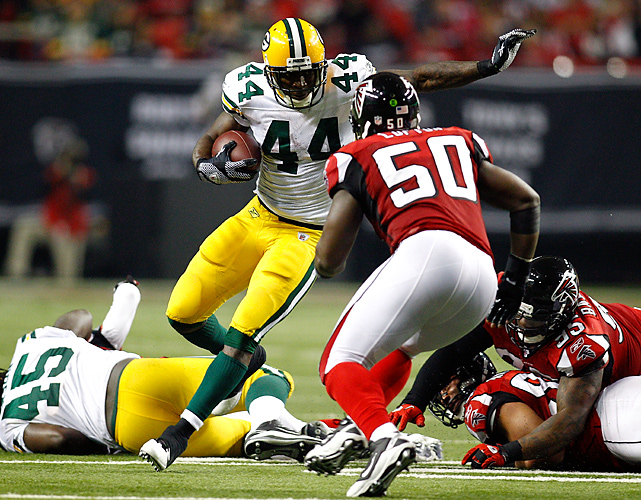 He didn't rush for 123 yards like he did in the wild card win over the Eagles, but Starks still carried the ball 25 times for 66 yards to lead the Packers' ground attack and kept the Falcons' defense off balance.