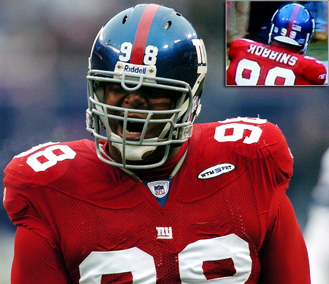 "Somebody decided the Toys ""?"" Us spelling for Giants defensive tackle Fred Robbins was a better way to go in a home game against the Cowboys on Dec. 4, 2005."
