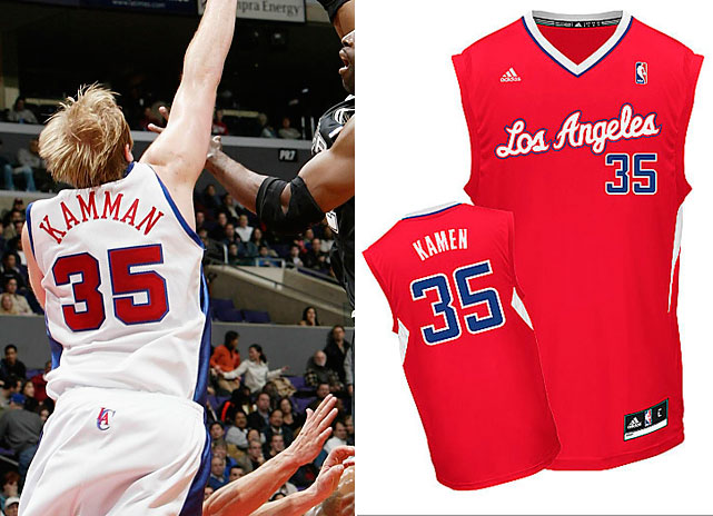 "Clippers big man Chris Kaman has had his name misspelled twice, and not in the same way. First he was forced to wear a jersey with an extra ""M"" in Dec. 2003, and then the NBA tried selling his No. 35 jersey with an ""e"" in place of the second ""a."" (The league has since corrected its latest mistake.) Dude can't catch a break."