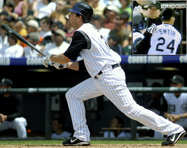 The high-altitude in Colorado must have gotten to the Rockies' tailor to have somehow misspelled left fielder Seth Smith's last name in May 2009.